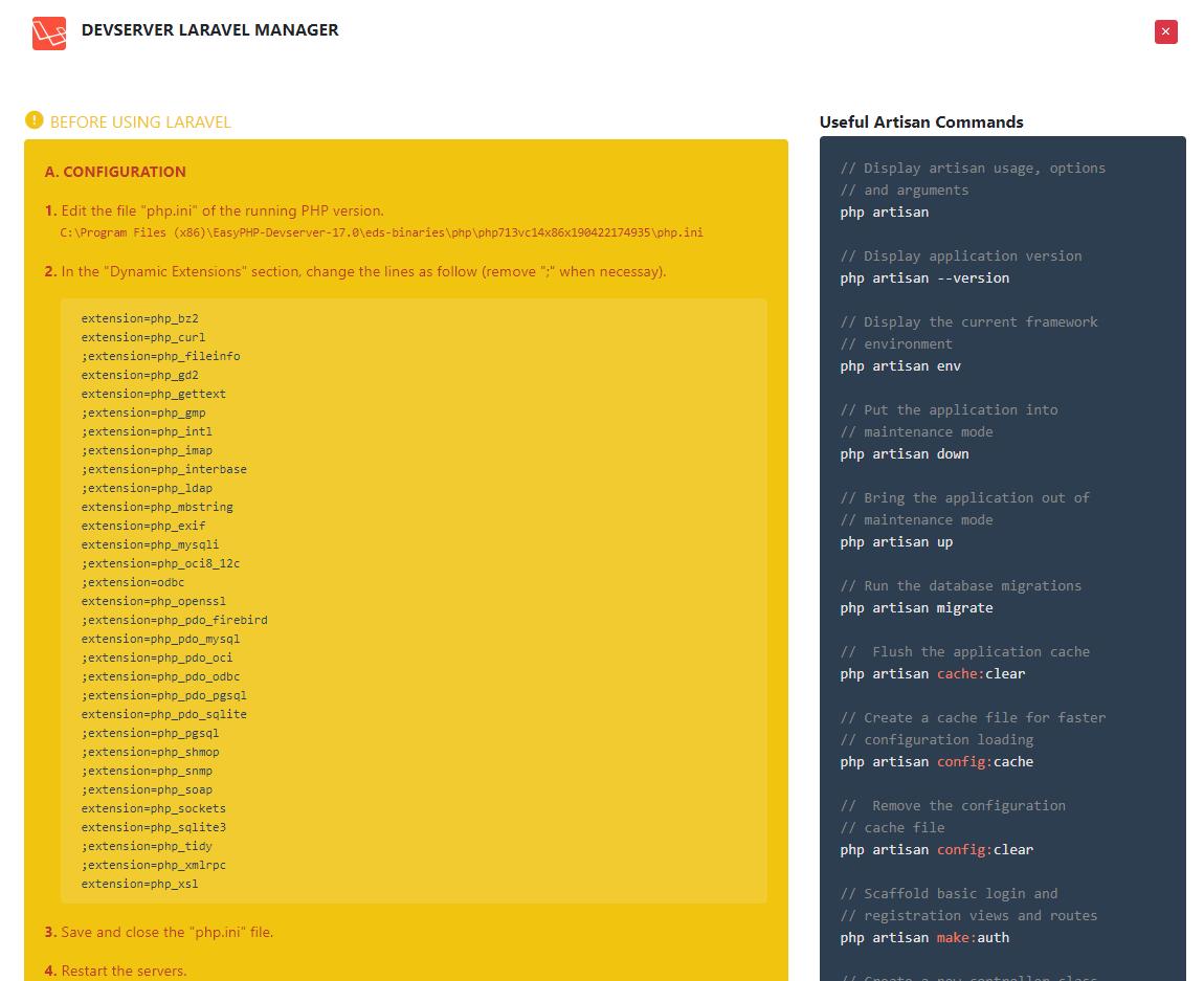 EasyPHP Devserver | Documentation Devserver - Laravel